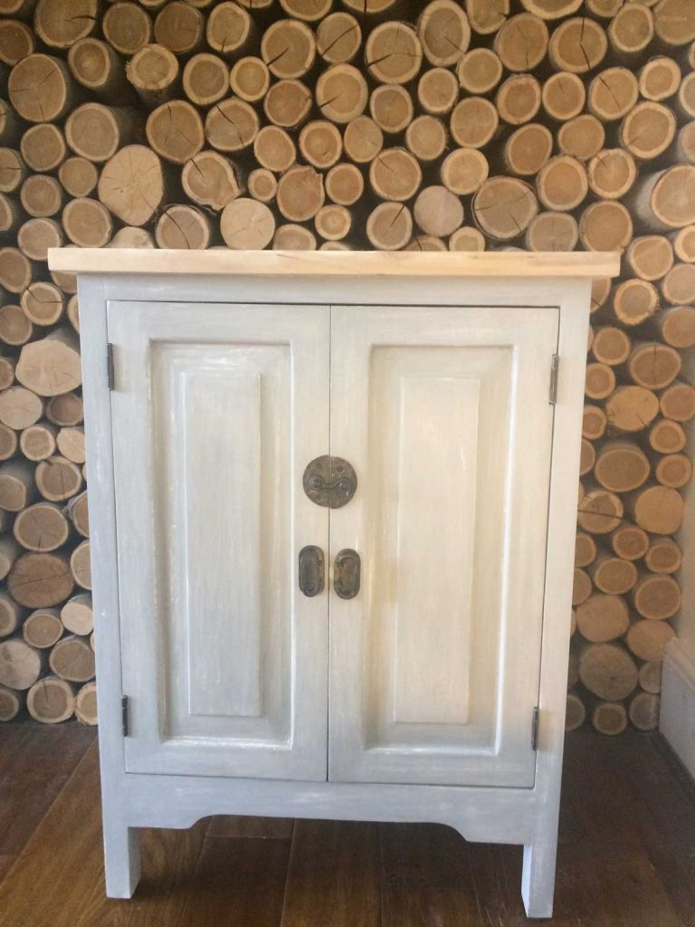 Unique bespoke unit distressed in Annie Sloane paris grey and old white H 80 x W60x D41