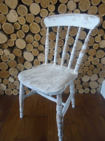 A lovely church chair full of character. Distressed in Annie Sloane French linen H81 W42 D47