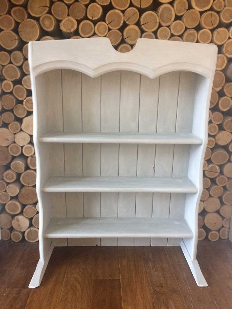 A unique shelving unit distressed and painted in Annie Sloane Paris Grey H100cm x W74cm x D19cm