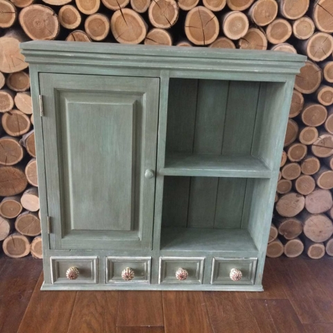 A lovely unique unit with small four draws and a cupboard. Painted in Annie Sloane Olive green chalk paint W67cm x H68cm x D14cm